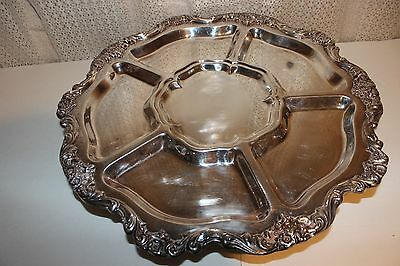 Vintage Heavy Round Silver Plate Tray Footed Poole Old English