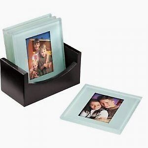 Photo Coaster Glass Photo Picture Frame Table Mats Set