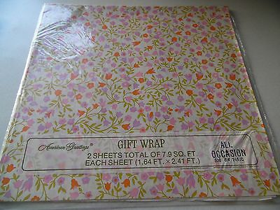 NEW VINTAGE American Greetings Floral Wrapping Paper Gift Wrap