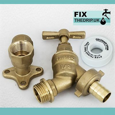 Garden Tap ½  x ¾ -inch Brass Tap DCV with Hose Wall Plug Adaptor and Elbow
