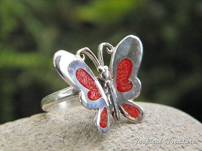 Red Coral Butterfly & 925 SOLID Silver ADJUSTABLE Ring