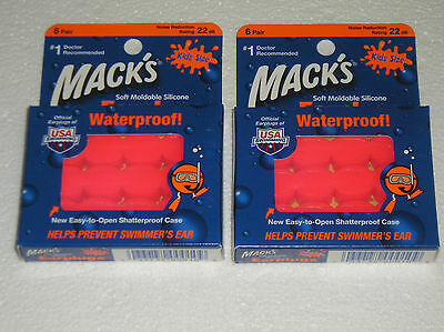 Mack/'s Soft Moldable Silicone Earplugs Waterproof Orange 12 pair New other
