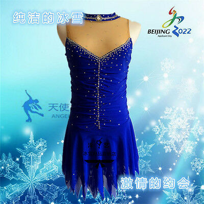 blue figure skating dresses girls hot sale spandex angelwing A003 clothes custom