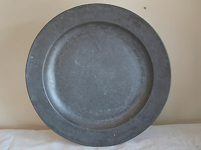 Antique English Pewter Plain Rim Charger, 18 In Dia, Samuel Ellis, London, C1740