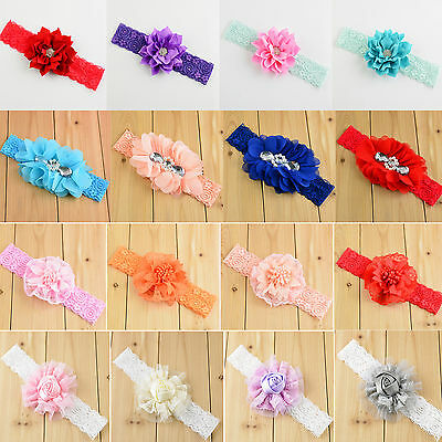Newborn Girls Kid Baby Toddler Infant Lace Flower Headband Hair Band Accessories