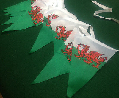 Welsh Flag Triangle Pennant Bunting