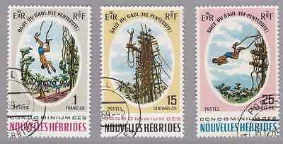 NEW HEBRIDES (FR) - 1969 - Pentecost Island Land Divers. Complete set, 3v. Used