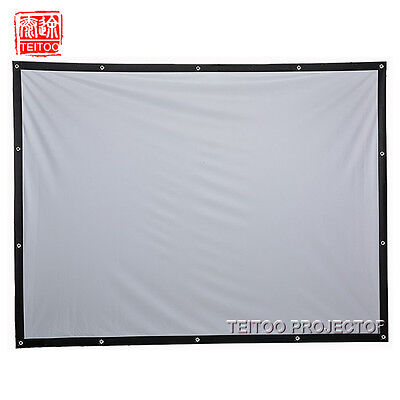 100 Inch 16:9/4:3 White Canvas PVC Back Rear Silver Projector Projection Screen