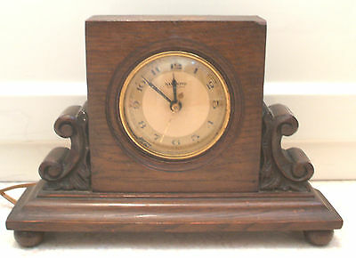 "Hammond Synchronous Electric American Carved Oak Case  Mantel Clock GWO 7""H"