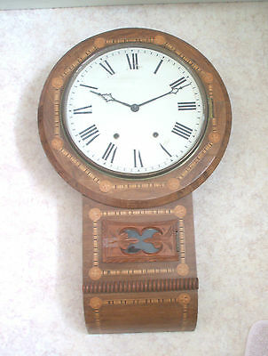 "American Victorian Drop Dial Inlaid Wood circular Striking  Wall Clock GWO 27""L"