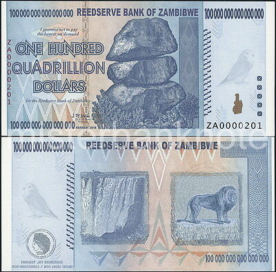 Zambibwe Za $100 Quadrillion Spoof Fantasy Art Note Of Zimbabwe $100 Trillion!