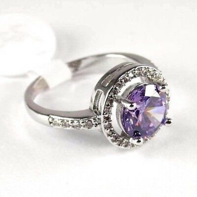 R#9014 simulated Purple Amethyst & Topaz Gemstone ladies silver ring size 9