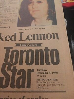The Toronto Star Newspaper December 9 1980 John Lennon