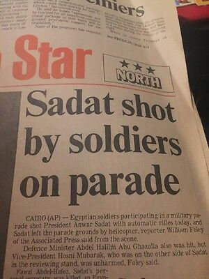 The Toronto Star Newspaper October 6 1981 Sadat Shot By Soldiers