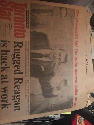 The Toronto Star Newspaper March 31st 1981 Regan Back To Work
