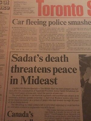 The Toronto Star Newspaper October 6 1981 Sadat's Death Threatens Peace In Mid