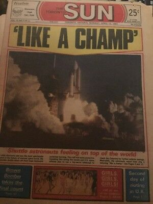 The Toronto Sun April 13 1981 Shuttle Lift Off