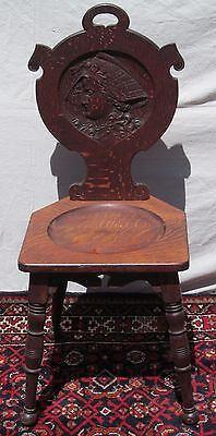 American Bicentennial Victorian Christopher Columbus Oak Carved Chair