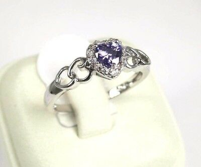 R#8613 simulated Purple Amethyst & Topaz Gemstones ladies silver ring Size 7.25