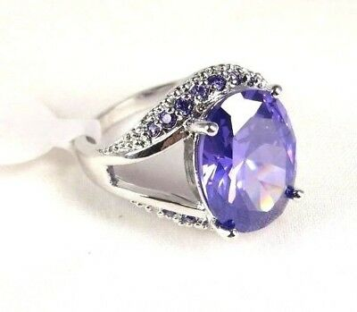 R#3917 simulated gemstone Purple Amethyst ladies silver ring size 8