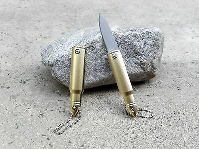 "5"" Small Mini Gold Bullet Spring Assisted Folding Pocket Knife Keychain Blade"
