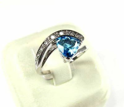 Sea Blue Topaz gemstone simulated solitaire ladies silver ring size 9.25 R#6852
