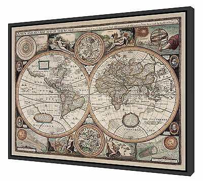 "Framed 1651 Antique World Map - Stretched Canvas - 40"" x 31"" - Floater Frame"