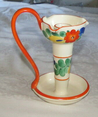 Czech Pottery Peasant Candle Holder Handpainted Flowers Orange Yellow Blue Green