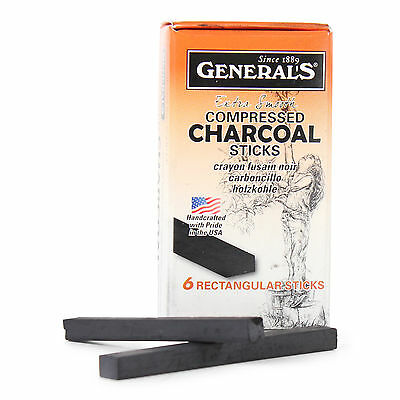 General's Compressed Charcoal 6B Stick 12pk