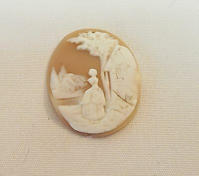 Victorian Antique Carved Shell Loose Cameo Lady, Villiage Scene Tree & House