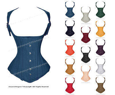 Heavy Duty 22 Double Steel Boned Waist Training Cotton Underbust Corset #8028-TC