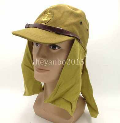 Wwii Ww2 Japanese Navy Officers Field Wool Cap Hat With Havelock Neck Flap
