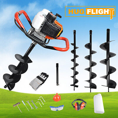 Hug Flight Petrol Earth Auger 52cc 3x Ground Drill+Extension 3HP Post Hole Borer