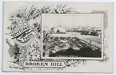 1907 Rp Pu Greetings Postcard Broken Hill Railway Station Passenger Train R84.