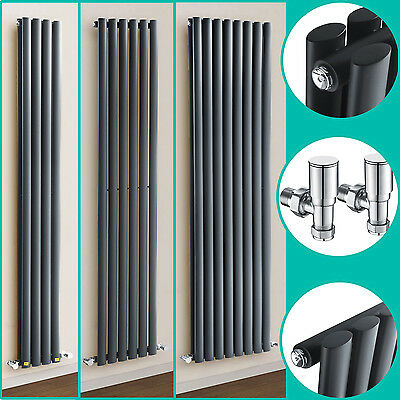 Anthracite Vertical Column Radiators With Valves Domestic Steel Hot Water Heater