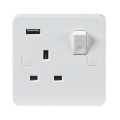 Knightsbridge PURE 9mm 13A 1G DP Switched Electric Wall Socket with USB Charger