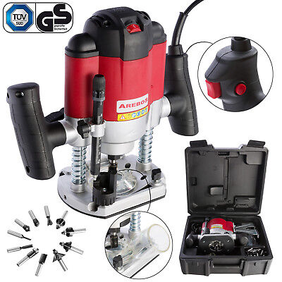 Arebos 1200W Plunge Router Kit Set incl.12 Router Bits Heads + Carry Case