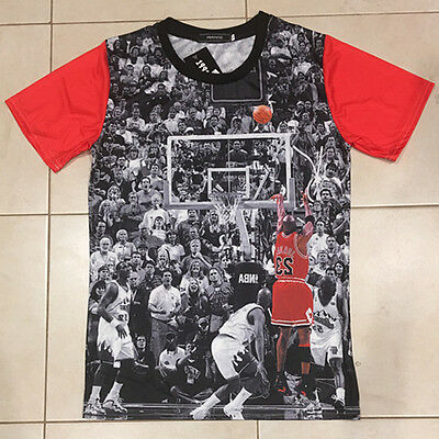 Michael Jordan #23 LAST SHOT Basketball 3D BACKWARD Print Pullover Tops T-shirt