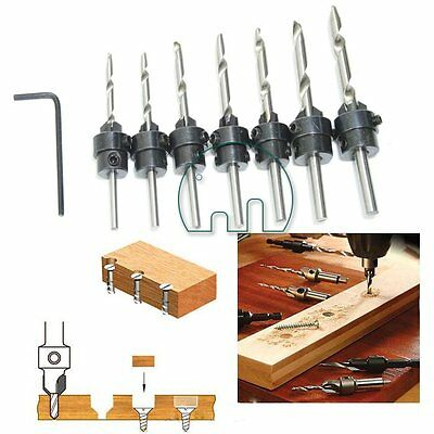 22Pc Tapered Drill & Countersink Bit Screw Set Wood Pilot Hole For Wood in