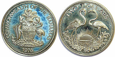 BAHAMAS 2 DOLLARS 1976 KM#66a ARGENT SILVER 0.925