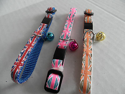 Union Jack Print Cat Kitten Safety Collar with Bell, Support GB