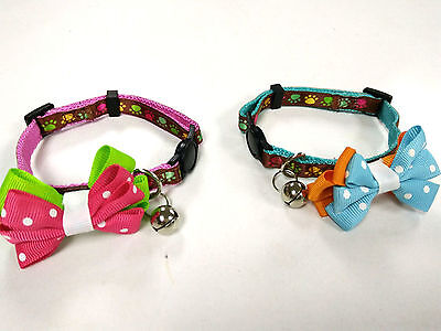 Footprint Print Collar with Bow, Cat Kitten Safety Collar with Bell