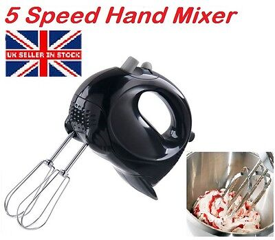 5Speed Hand Held Food Mixer Black Stylish Electric Whisk Blender Beater Whisker