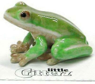 "Little Critterz Miniature Porcelain Animal Figure Green Tree Frog ""Pond"" LC316"