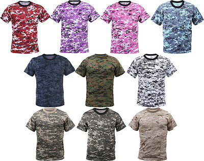 Digital Camouflage Tactical Military Short Sleeve Army Camo T-Shirt