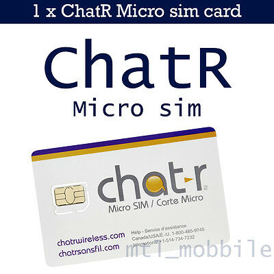 Chatr Micro sim card iphone 4/4s galaxy s5 Canada Prepaid New 4G LTE