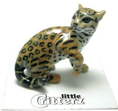 "Little Critterz Miniature Porcelain Animal Figure Ocelot ""Moche"" LC950"