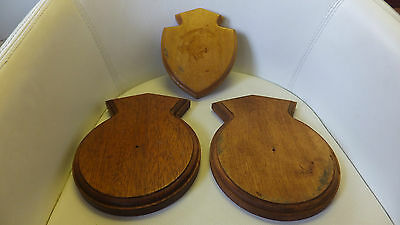 3 Navy Shield Plaques Wood Backing Only