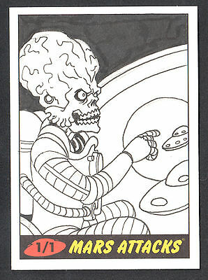 MARS ATTACKS! HERITAGE (Topps/2012) Pack Pulled SKETCH CARD by MARK DOS SANTOS