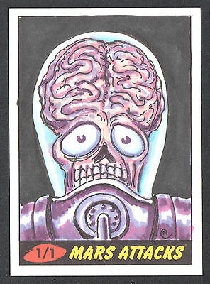 MARS ATTACKS! HERITAGE (Topps/2012) Pack Pulled SKETCH CARD by NEIL CAMERA